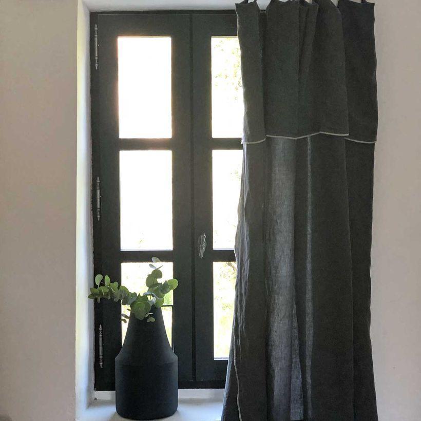 rideau en lin gris anthracite