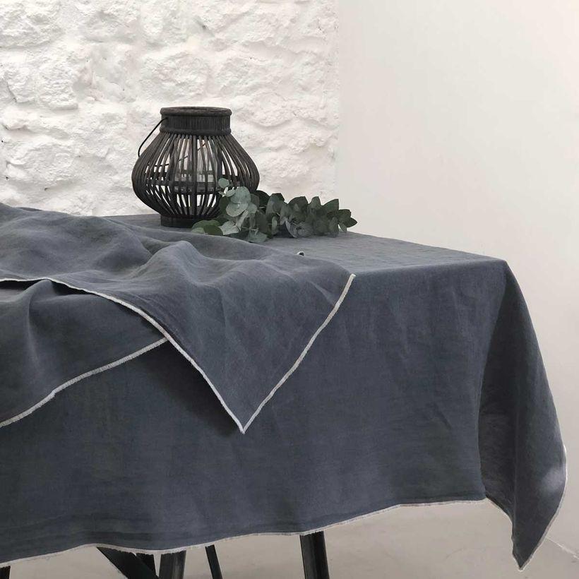 Nappe ou rideau en lin lavé gris anthracite