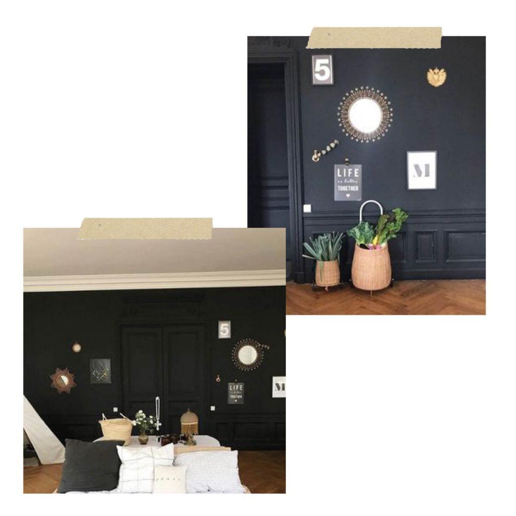 salon mur noir