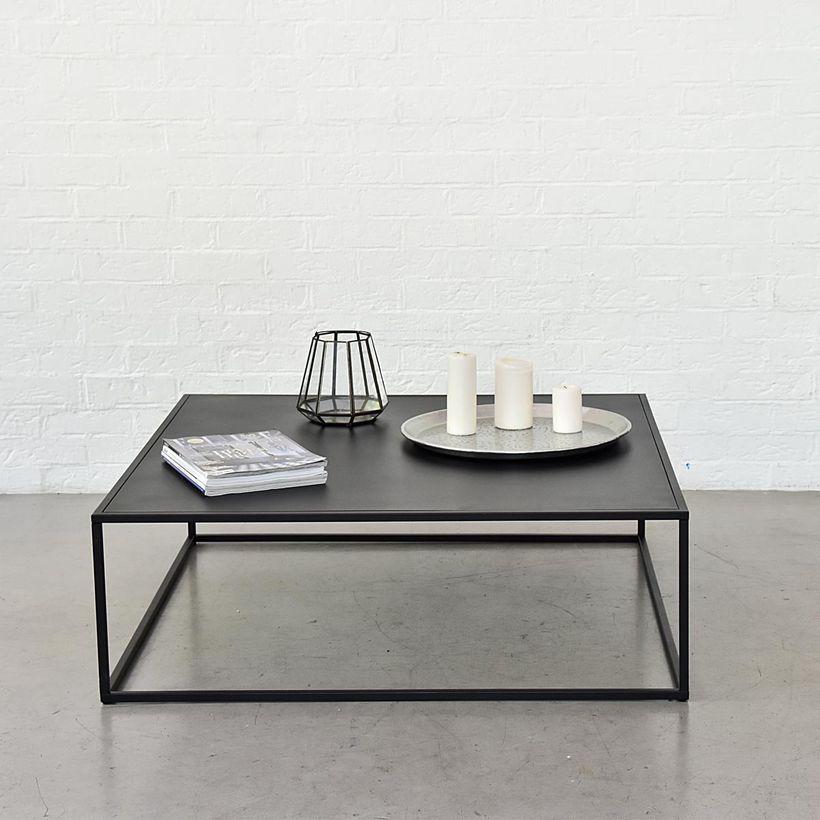 Table basse carrée en métal noir mat
