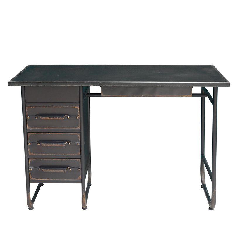 Bureau en métal noir vieilli 3 tiroirs