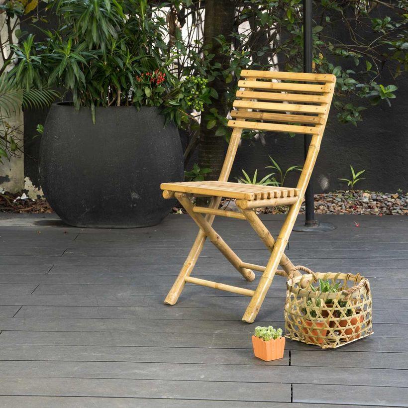 Chaise de jardin pliante en bambou naturel Taman