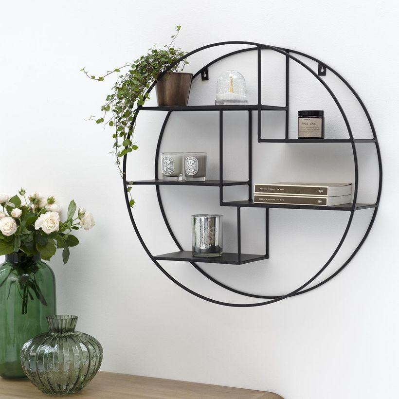 Etagère murale ronde en métal filaire finition noire