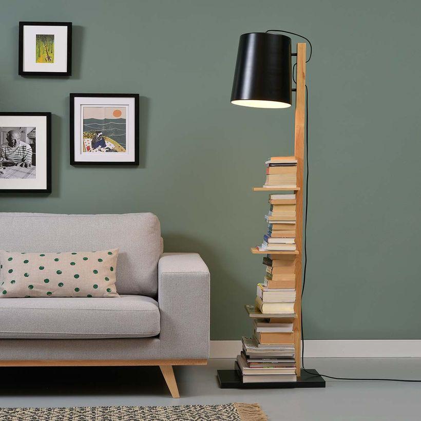 Lampadaire en bois et métal noir 4 étagères