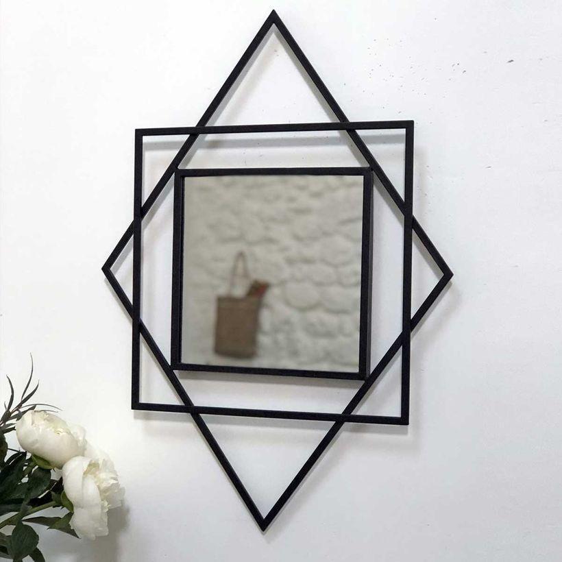Miroir à motif graphique style Art Déco noir