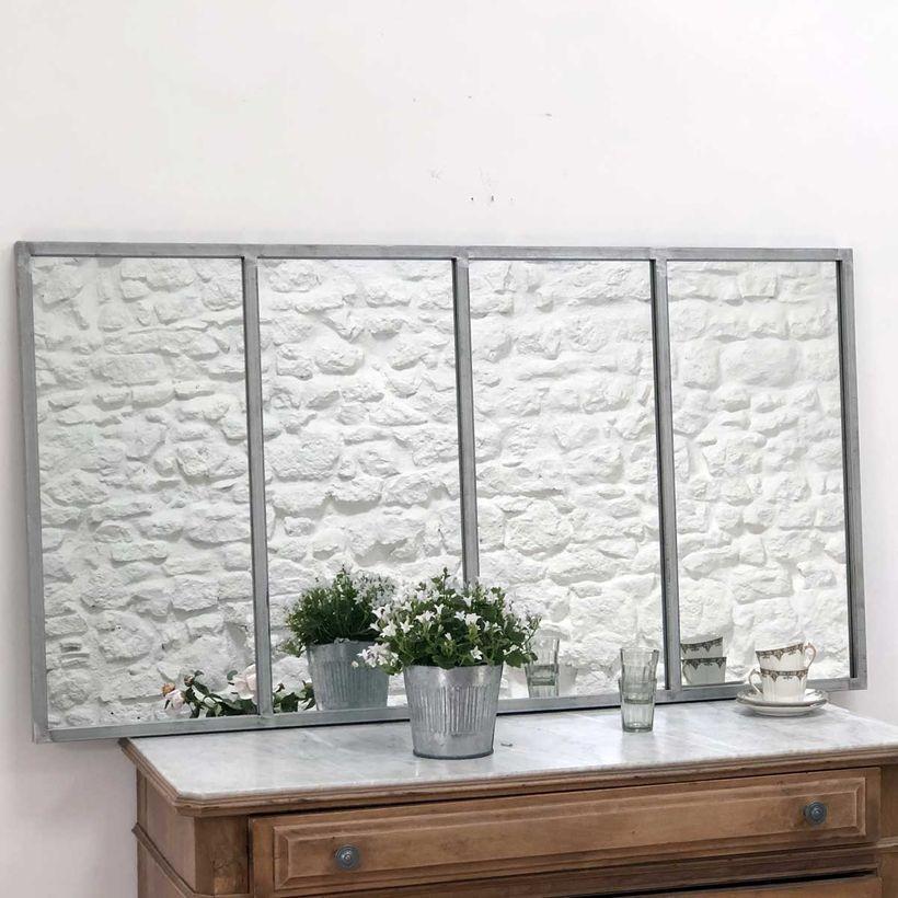 Miroir atelier verrière rectangulaire métal finition zinc