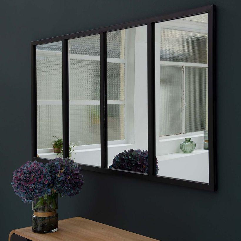 Miroir atelier verrière rectangulaire métal noir