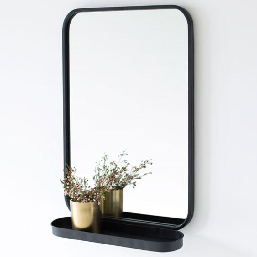 Miroir avec étagère en métal noir