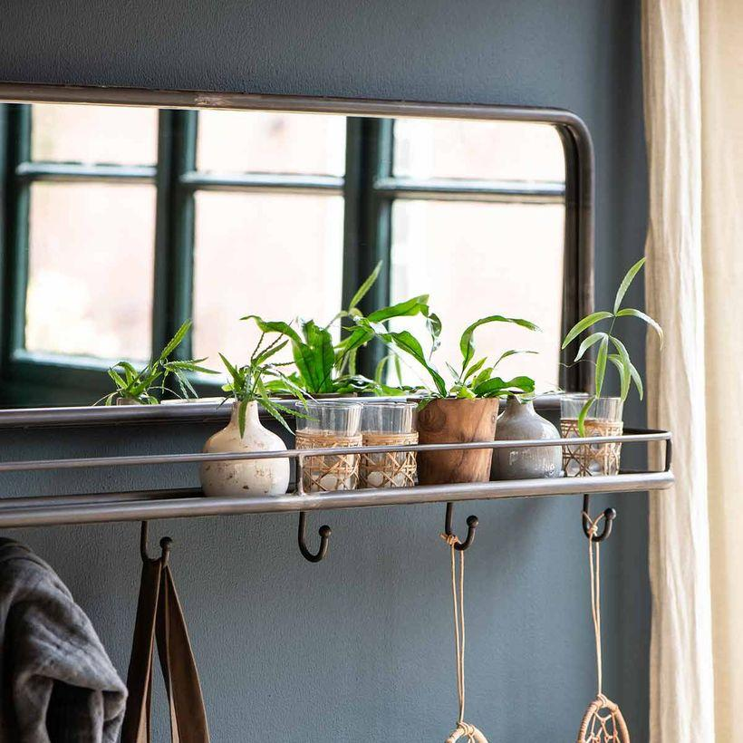 Miroir avec étagère et 6 crochets