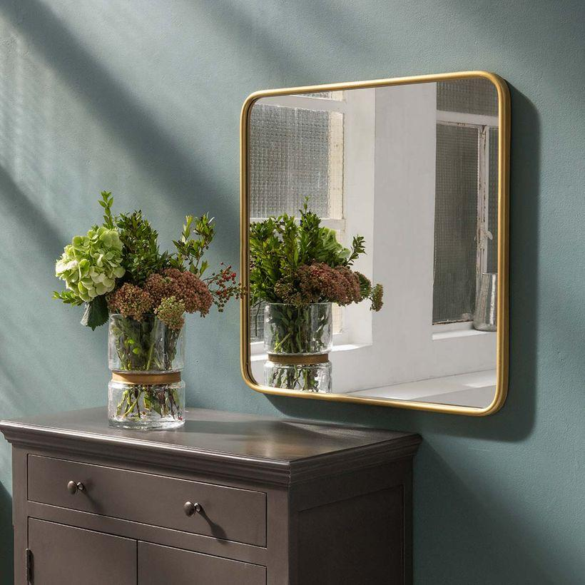 Miroir carré angles arrondis en métal couleur laiton Uptown