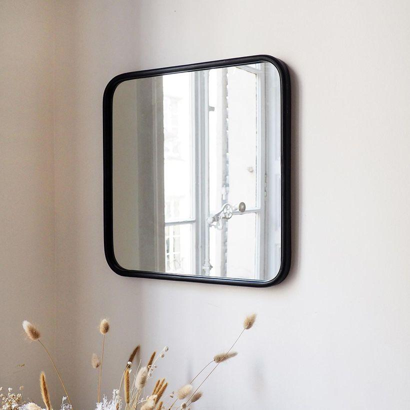 Miroir carré angles arrondis en métal noir Uptown