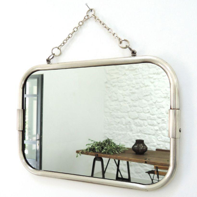 Miroir de barbier rectangle 2 sens