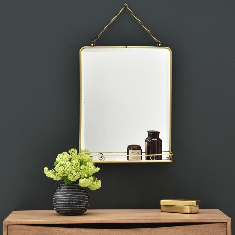 Miroir en laiton rectangulaire