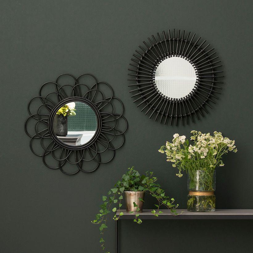 miroir en rotin couleur noire