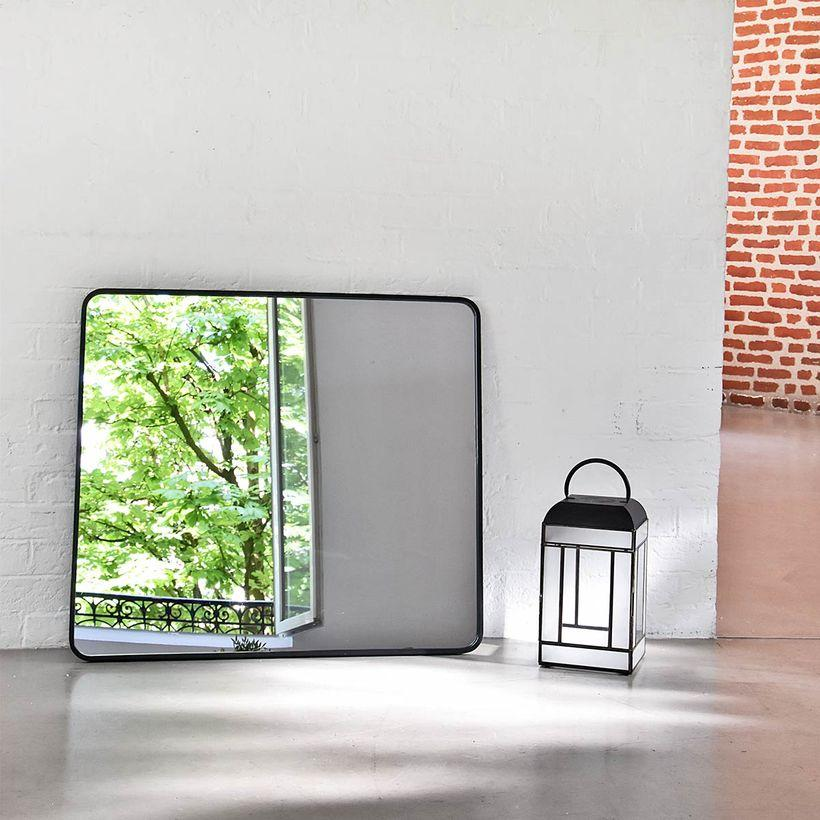 Miroir rectangulaire angles arrondis en métal noir