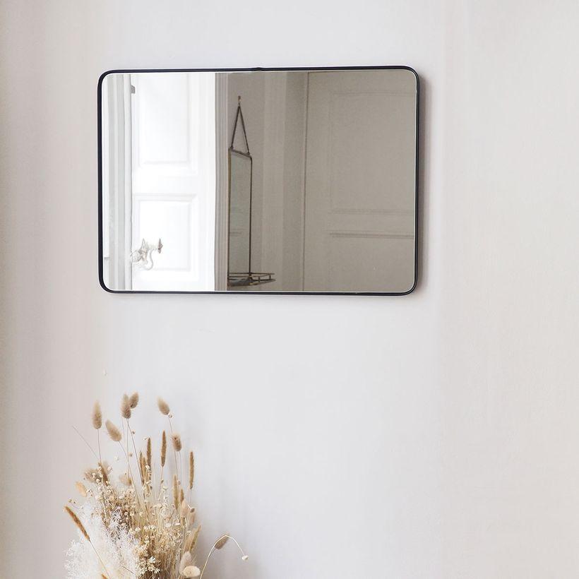 Miroir rectangulaire double sens angles arrondis en métal noir mat