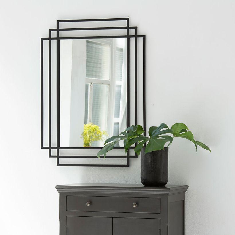 Miroir rectangulaire style Art Déco noir