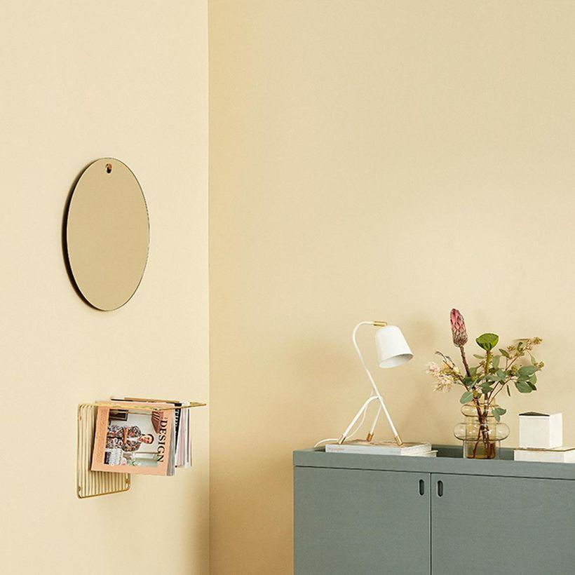 Miroir rond avec crochet en bois