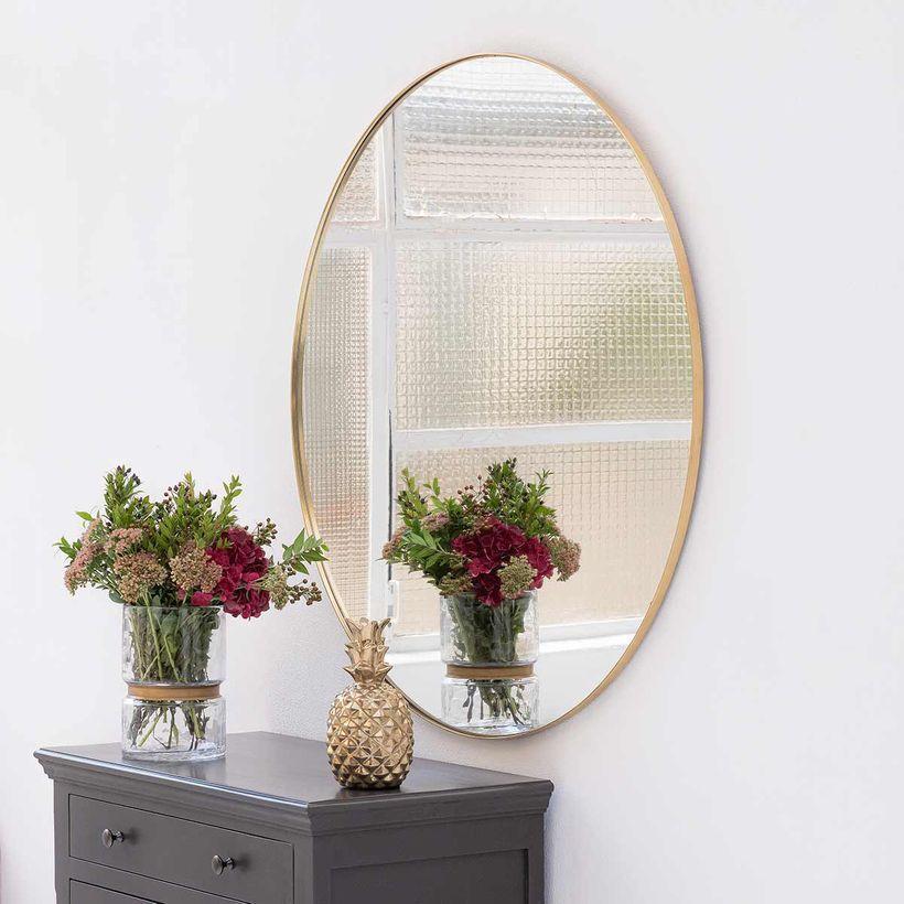 Miroir rond en laiton 100cm