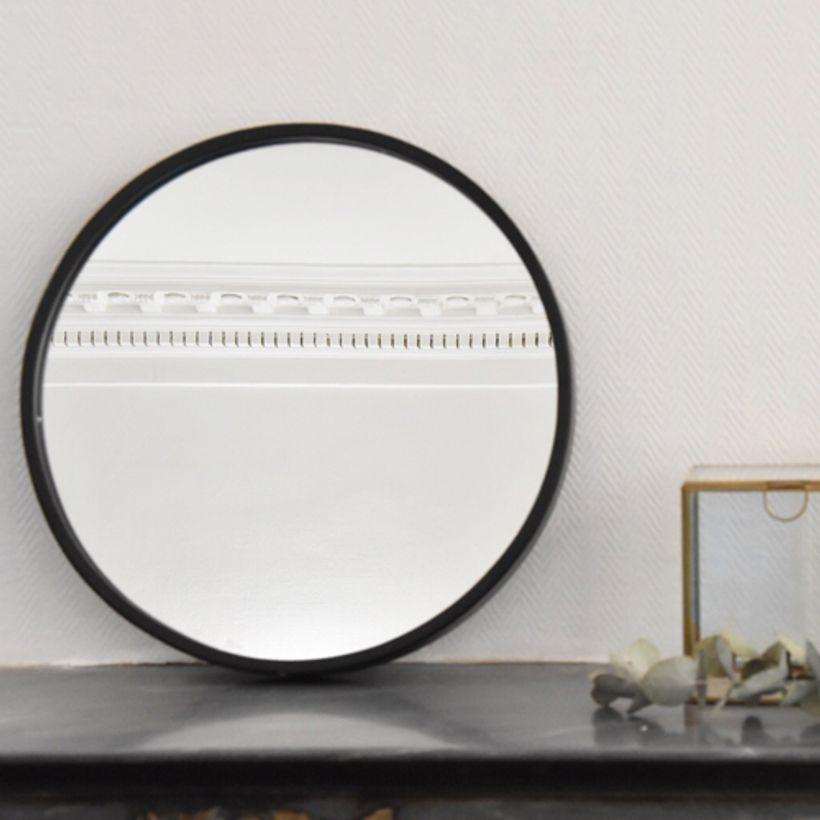 Miroir rond en métal noir mat 40 cm