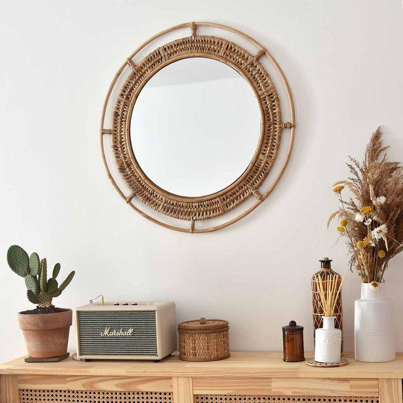 Miroir rond en rotin naturel Hugo Moka 60 cm