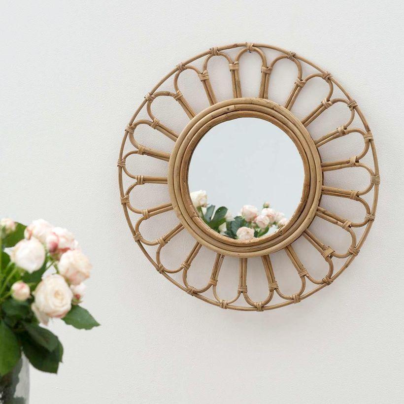 Miroir rond fleur vintage en rotin naturel Alma Moka