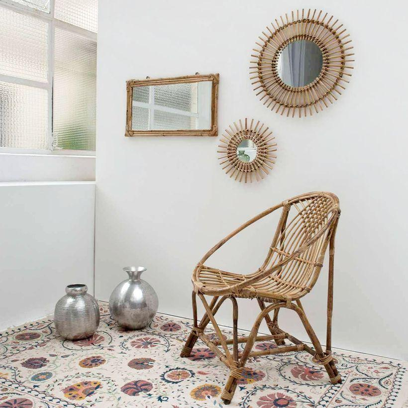 Miroir soleil vintage en rotin naturel 30 cm