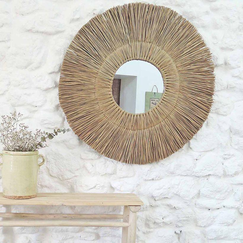 Miroir rond XL en paille de mendong 90 cm