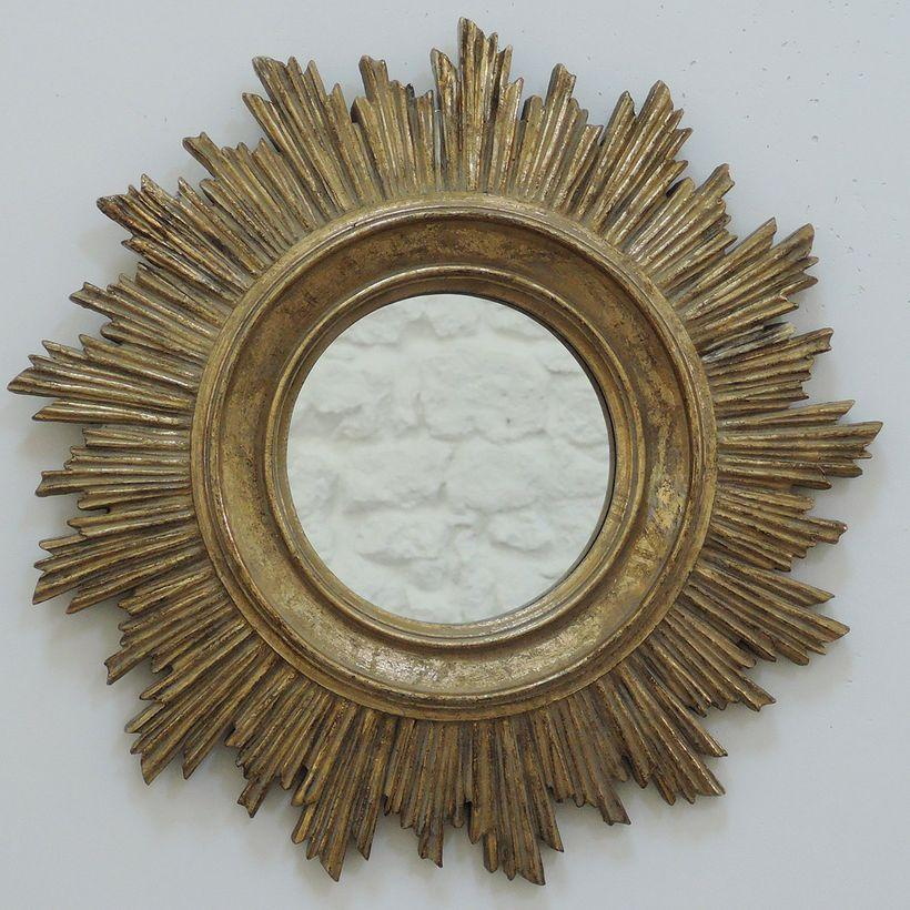 Miroir soleil style baroque finition doré mat