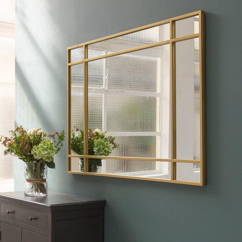 Miroir verrière Art Déco double sens en métal couleur laiton