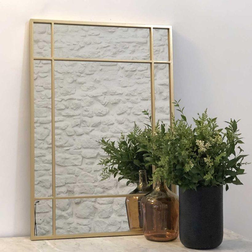 Miroir verrière Art Déco double sens en métal doré Wallis