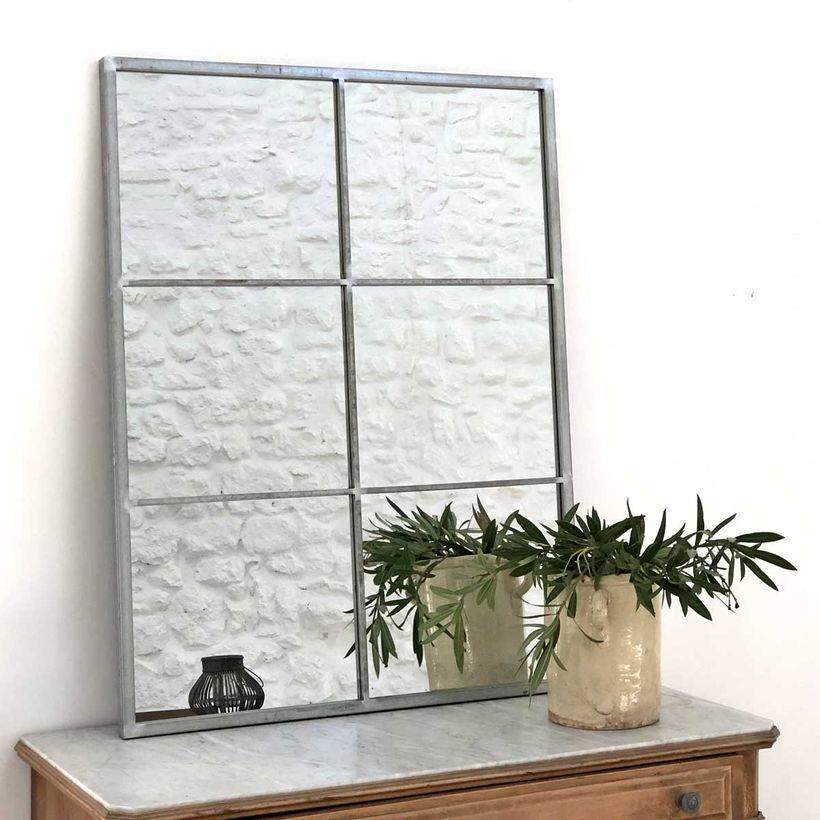 Miroir verriere rectangulaire en métal