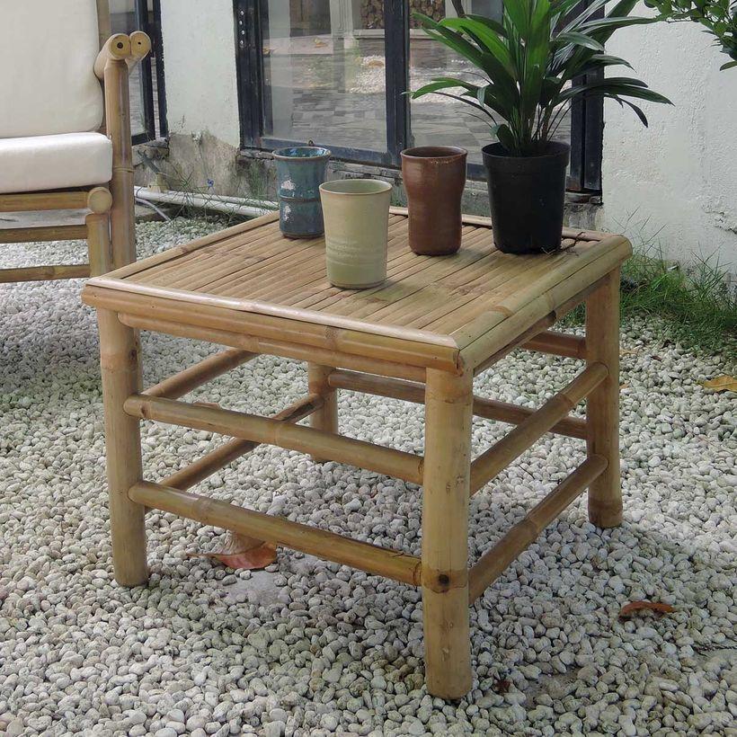 Table basse carrée en bambou naturel Taman