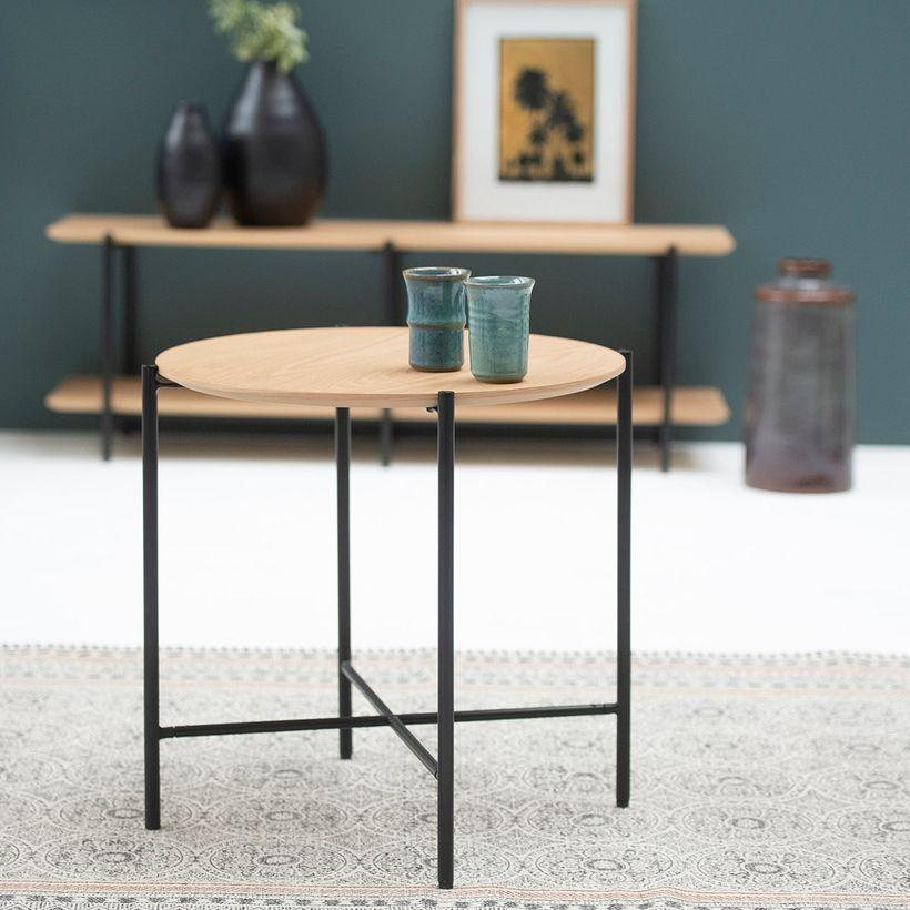 Table basse guéridon en placage chêne et pieds métal noir mat
