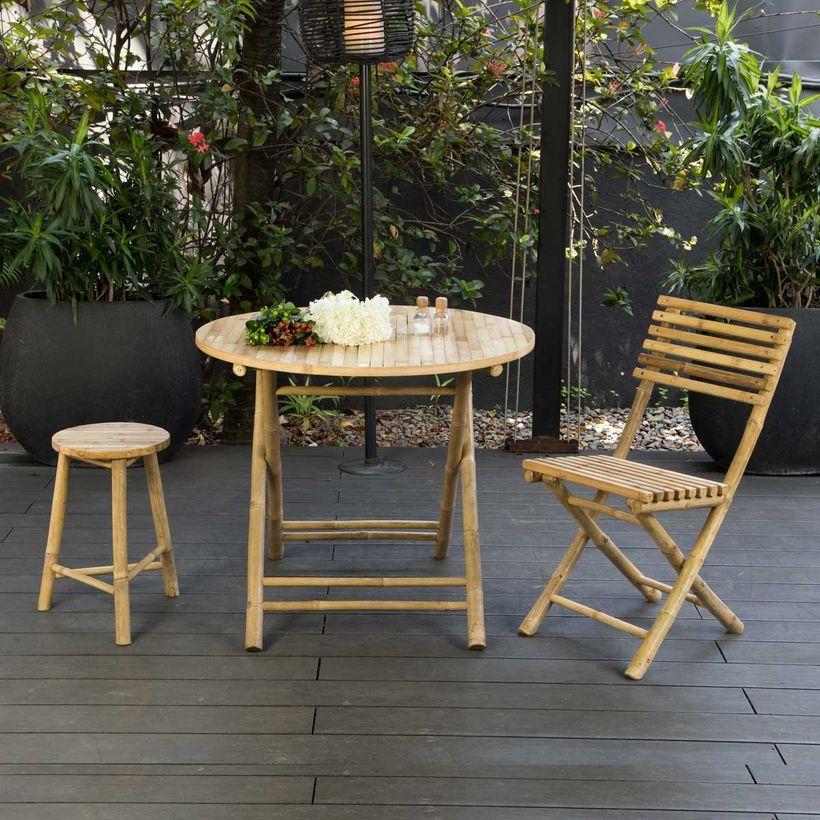 Table de jardin ronde pliante en bambou naturel Taman