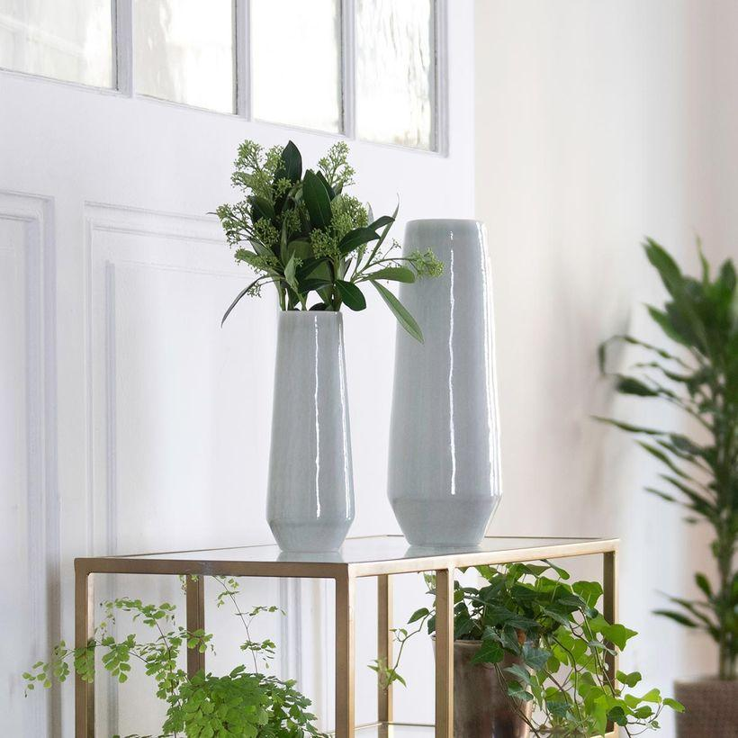 Vase fuselé en céramique vert d´eau craquelé