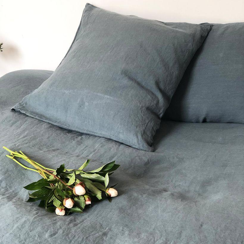 Taie d'oreiller dessus en chanvre lavé vert minéral