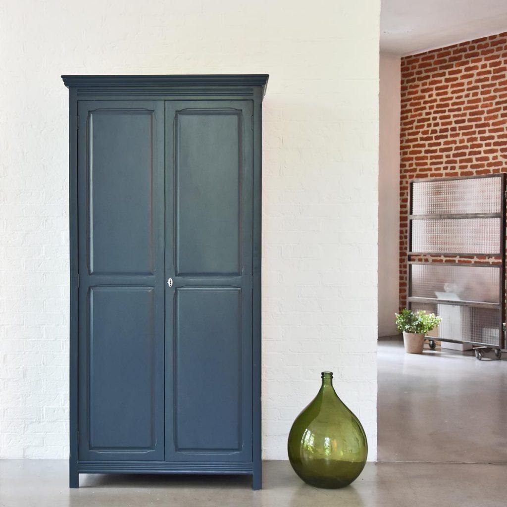 Armoire parisienne 2 portes penderie étagères- bleu