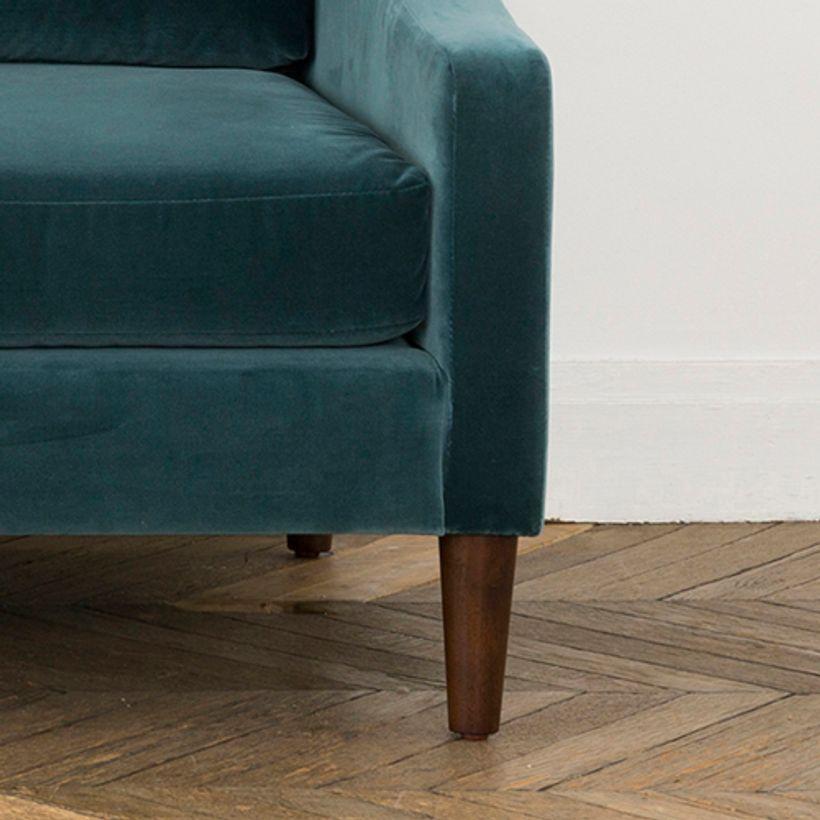 Canapé en velours de coton L 207 Tuileries - bleu de Prusse