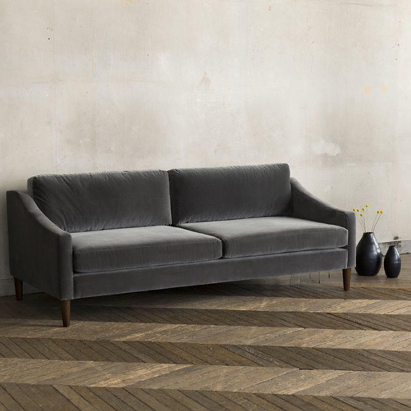 Canapé en velours de coton L 207 Tuileries - gris orage