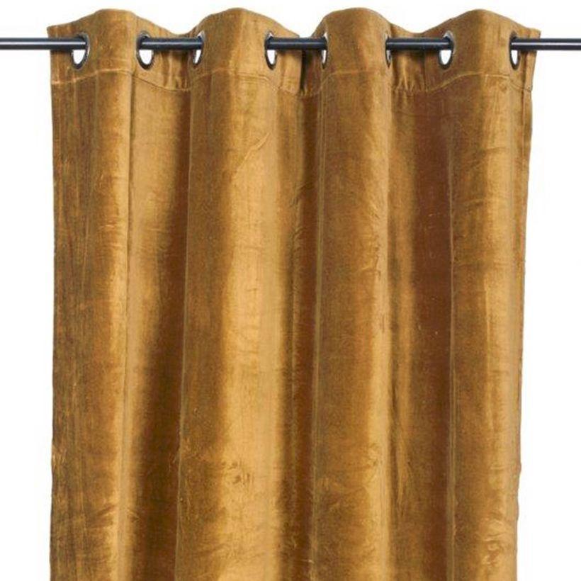 Rideau à oeillets en velours de coton Delhi Bronze Harmony 300 cm