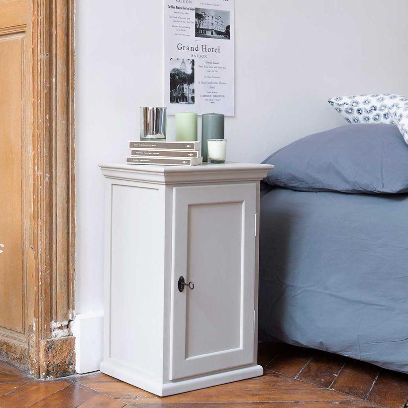 Table de chevet parisienne 1 porte en pin maritime - gris clair
