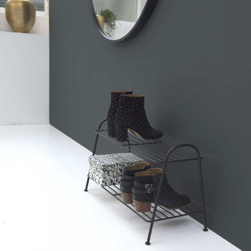 meuble de rangement - Étagère à chaussures en métal filaire noir