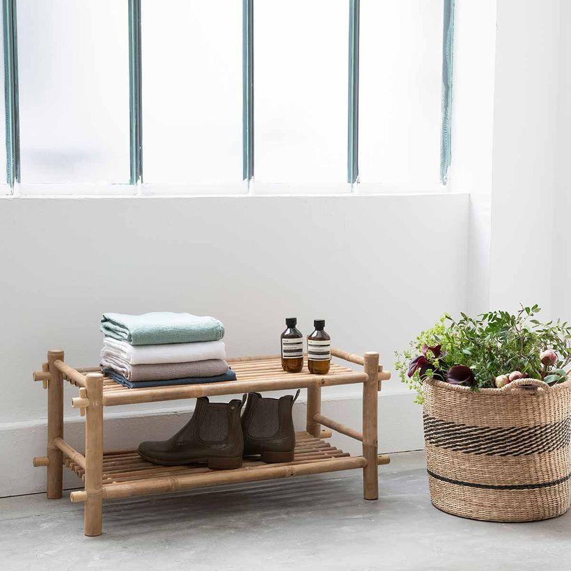 meuble de rangement - Meuble à chaussures en bambou 2 étages