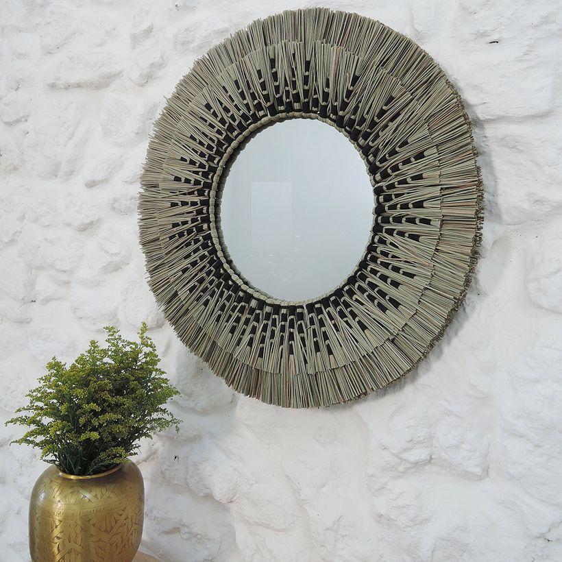 L'été indien - Miroir rond en paille de mendong naturel