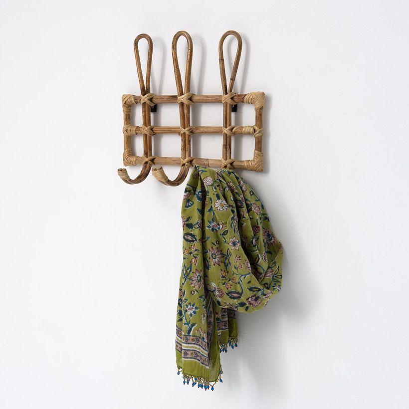 rangement - Porte-manteau vintage 3 crochets en rotin