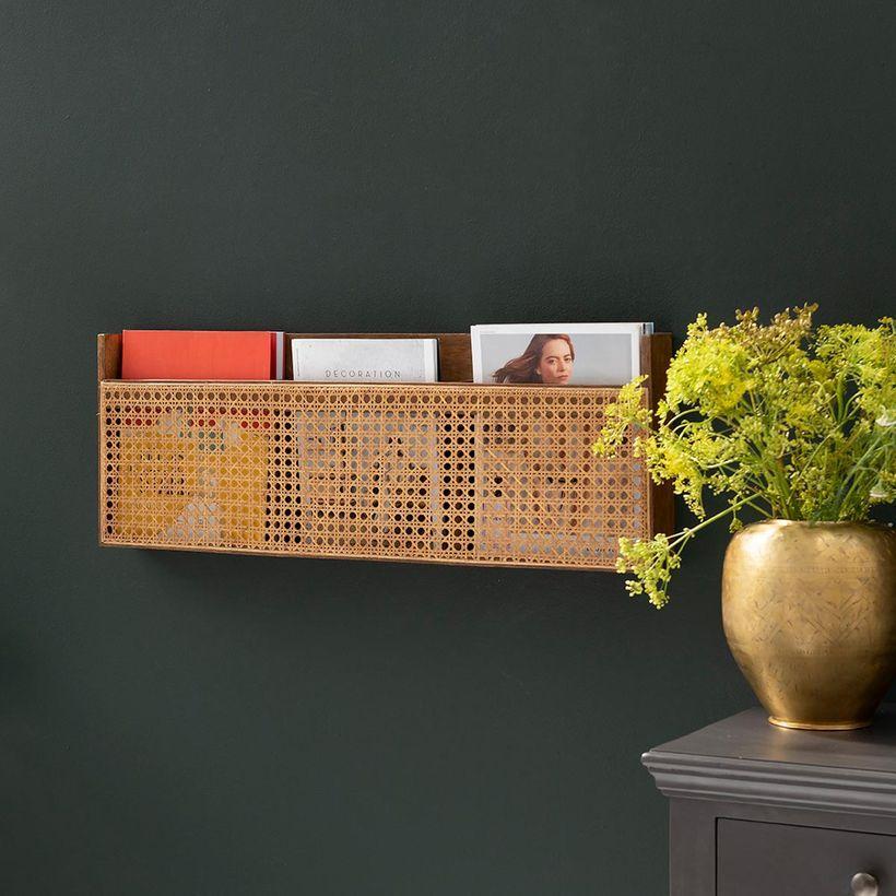meuble de rangement - Porte-revues mural en manguier et cannage