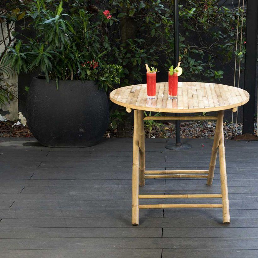 L'été indien - Table de jardin ronde pliante en bambou