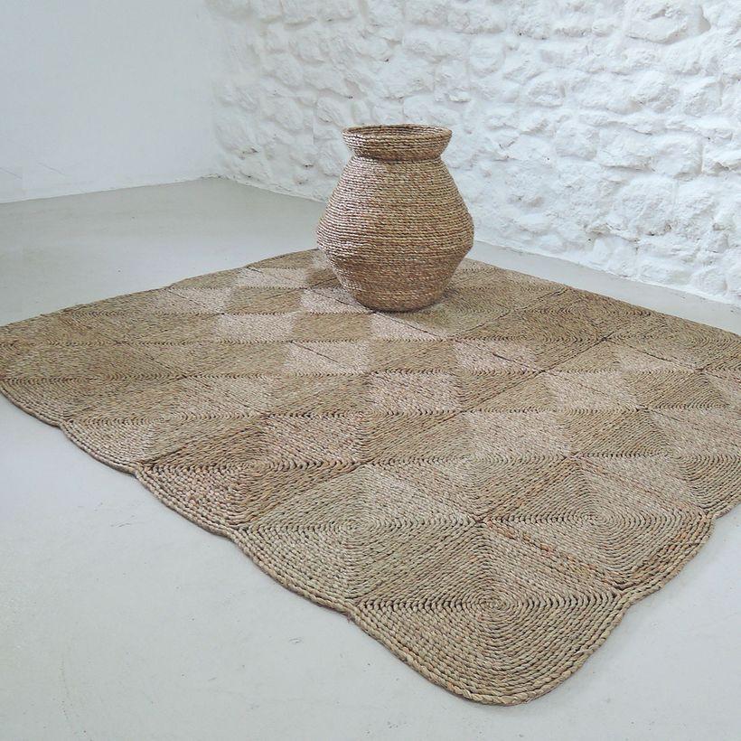 L'été indien - Tapis rectangulaire en fibres naturelles de mendong
