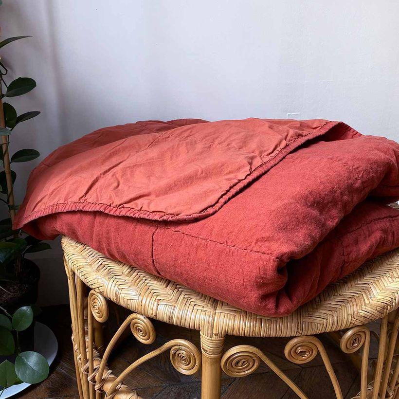 Couvre-lit en lin lavé terracotta